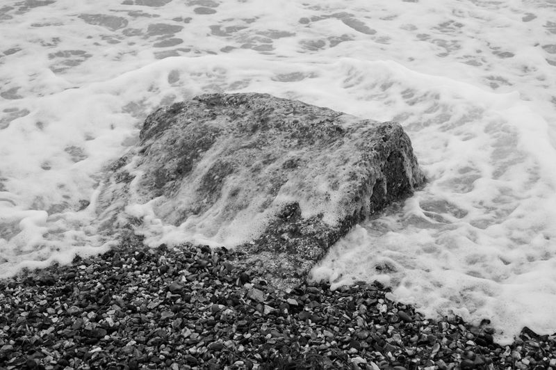 Spume on the Block Sea Land Rock Nature Water Day Beach Motion Solid Wave Outdoors Flowing Water Spume Surf Black And White Blackandwhite