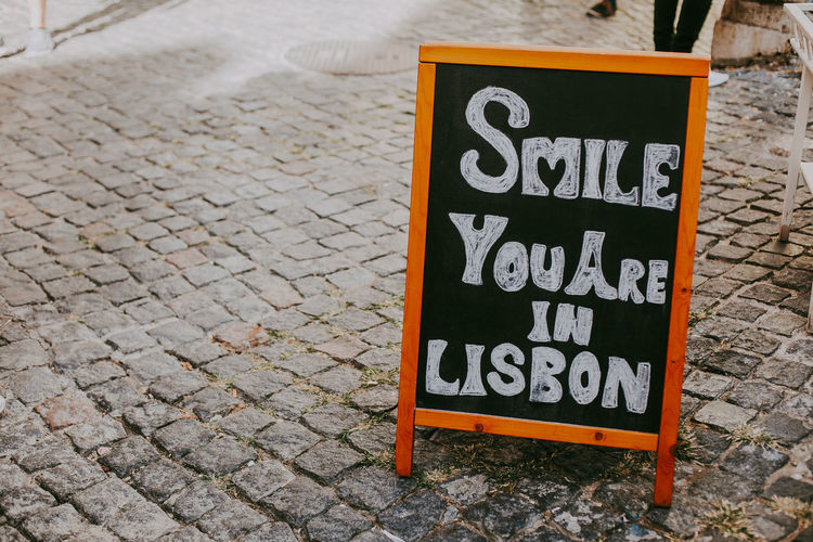Communication Sign No People City Message Smiling Board Lisbon Portugal