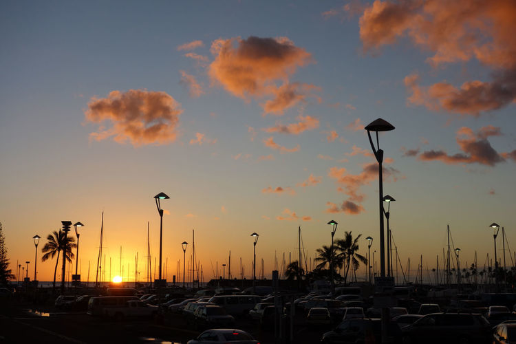 Ala Wai Boat Harbor Hawaii Vacations Car Cloud - Sky Mode Of Transport Sea Silhouette Sky Sunset Transportation Yacht
