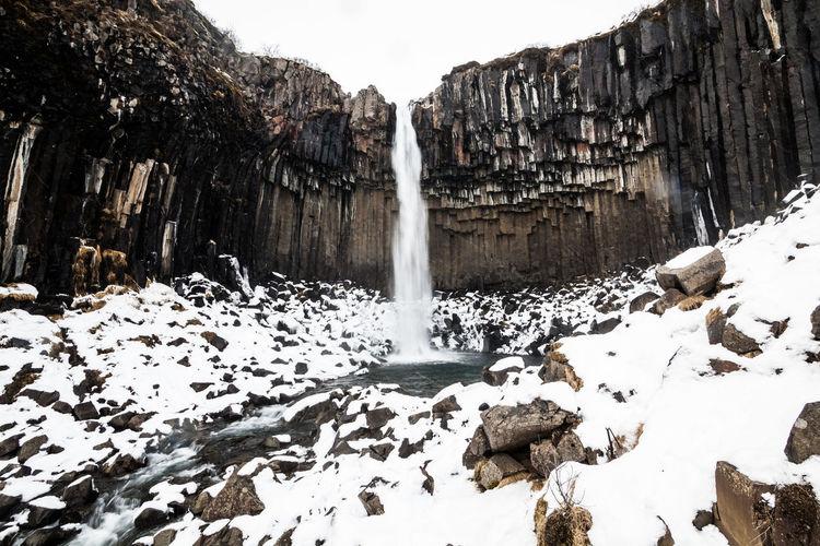 Long exposure of waterfall during winter