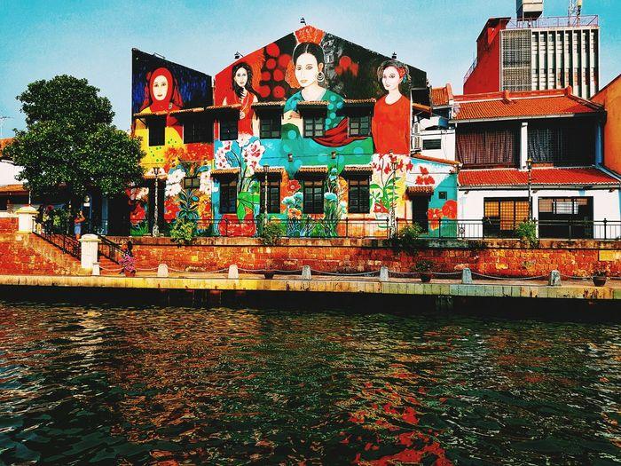 Colors Colors Collorfull Wall Mallaca River Architecture Built Structure Building Exterior Street Art Graffiti Art