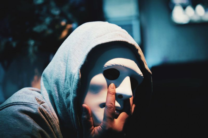 Close-up of man wearing mask