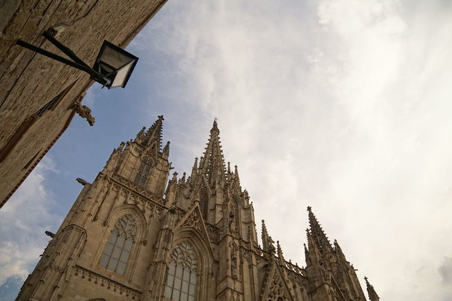 Barcelona Cathedral Barcelona Catalonia Catalunya Cathedral Façade Gothic Architecture SPAIN Architecture Barrio Gótico Belfry Bell Tower Building Exterior Built Structure Cloud - Sky Day Gothic Style Low Angle View No People Outdoors Place Of Worship Religion Sky Spirituality Tower Travel Destinations