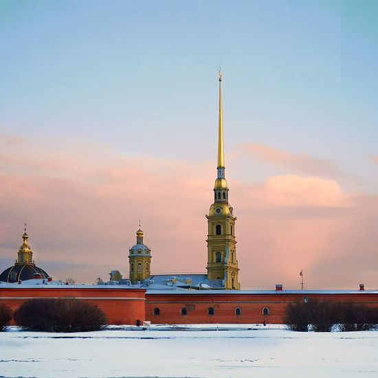 View of building against sky during winter