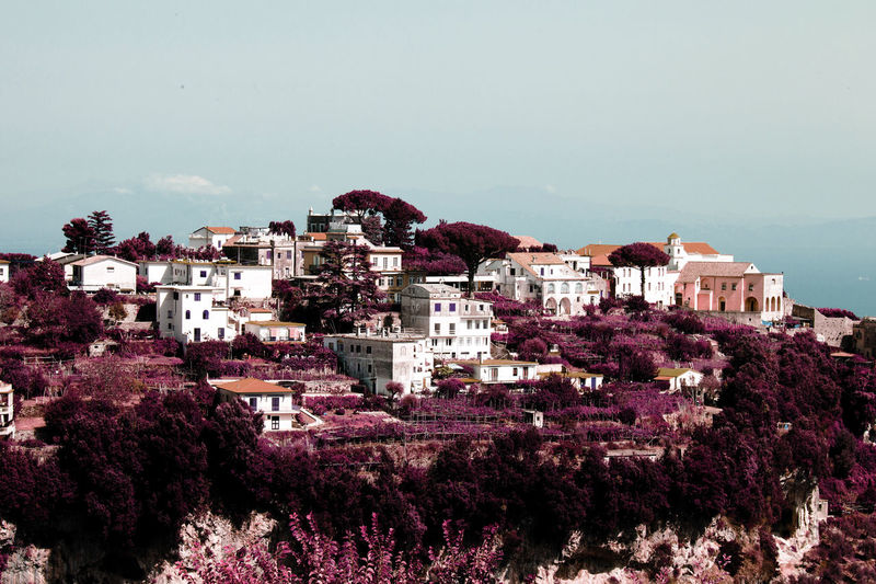 Rare view of a beautiful village on top of the forest hill in Ravello, Italy in color infrared Color Spectrum Infrared Tranquility Travel Architecture Beauty In Nature City Cityscape Clear Sky Community Day Destination High Angle View Hill House Infrared Photography Italy Mountain Nature No People Outdoors Ravel Town Tree Ultraviolet The Traveler - 2018 EyeEm Awards