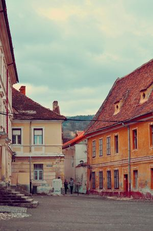 Architecture Brasov Building Exterior Built Structure City Day House No People Outdoors Romania Row House Sky Street Townhouse Travel
