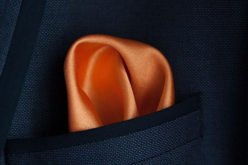 Black Background Burnt Orange Close-up Handkerchief Indoors  No People Orange Pocket  Single Object Studio Shot Wedding Details Elégance Luxury