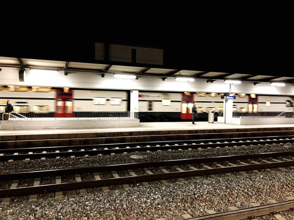 Train Railroad Station Platform Railroad Station Train Train - Vehicle Night