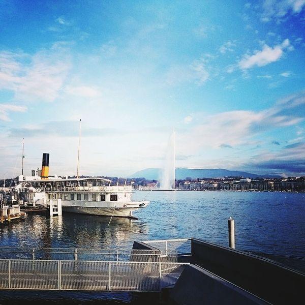 Lake Geneva Le Jet D'eau Sunny Day Sun ☀