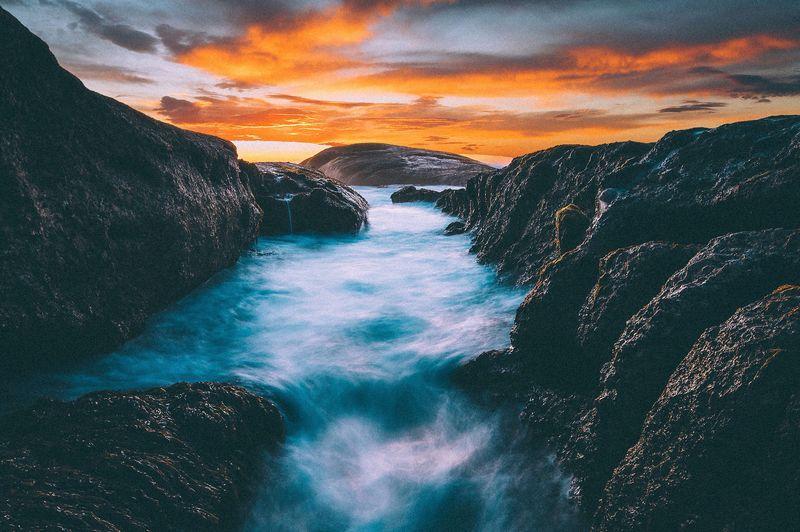 best time of the day. EyeEm Gallery EyeEmBestPics EyeEm Best Shots Showcase: January Sunset Seascape Sea Sea And Sky Ocean Capetown Southafrica Long Exposure