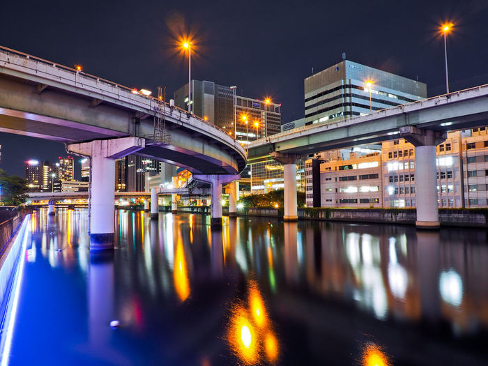 Illuminated Night Architecture Connection Built Structure Bridge Water Bridge - Man Made Structure Transportation Reflection Building Exterior City River No People Street Light Street Lighting Equipment Long Exposure Nature Outdoors Architectural Column Oosaka  Japan Photography Japan Highway