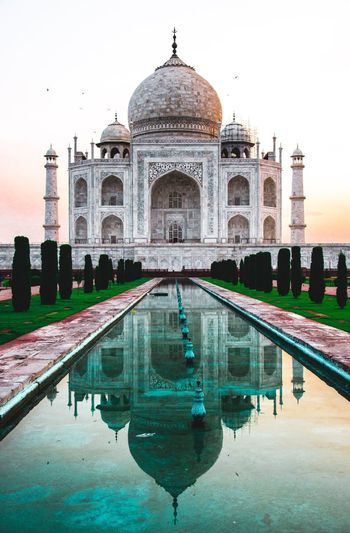 It's even more wonderful in Agra 🇮🇳♥️ Travel Destinations Travel India EyeEm Best Shots Eyemphotography 7 Wonders Of The World Taj Mahal Water Reflection Building Exterior Architecture Built Structure Sky Dome Tourism Travel Destinations Travel History Nature The Past Reflecting Pool Pond Swimming Pool Waterfront Incidental People Ornate