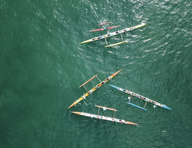 High angle view of people in sea