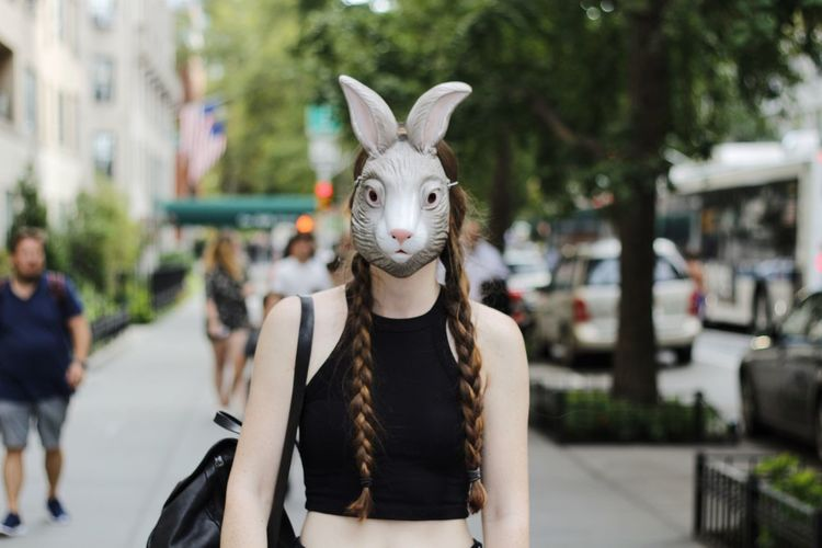 City Focus On Foreground Mask - Disguise Person Creativity Costume New York City Streetphotography Bunny