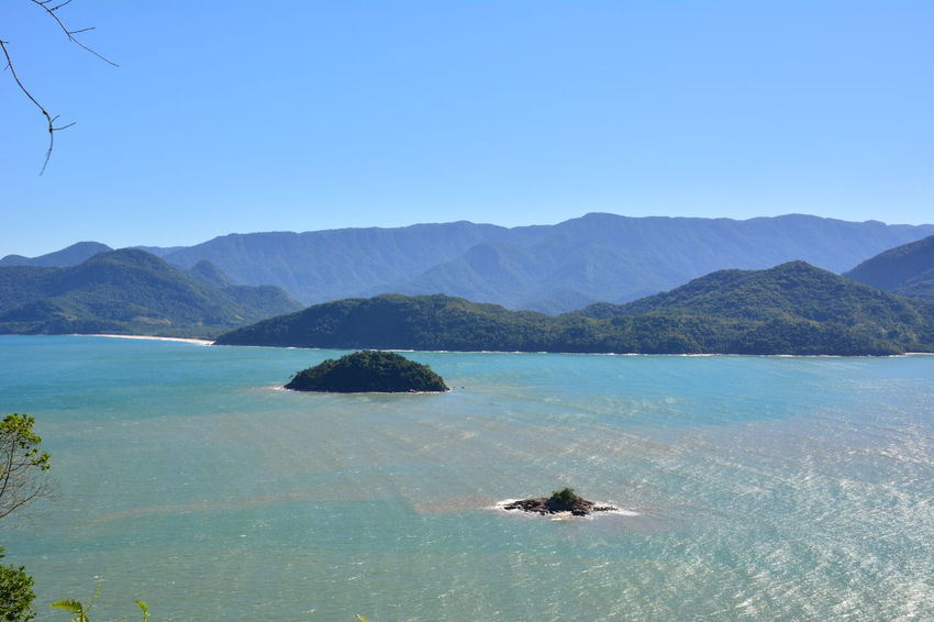 Aerial view Ubatumirim Moutain Serra Do Mar Atlantic Forest Ubatuba Beach Sun Sea Idilic Scene Seascape Coast Horizon Over Water Ocean Island Coastline Tropical Tree Calm Shore
