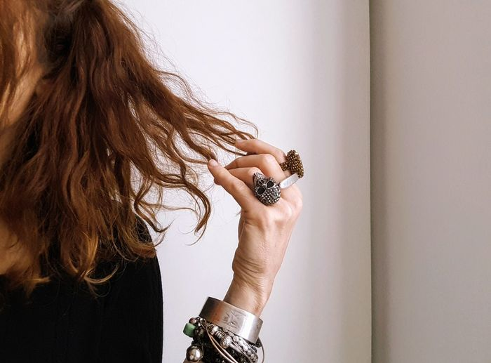 hair Portrait Of A Woman Part Of Body Hair Haircolor Hand Rings Skull Human Hand Young Women Close-up Tangled Hair Bracelet Body Adornment Jewellery Bangle Body Part Human Hair Hair Toss