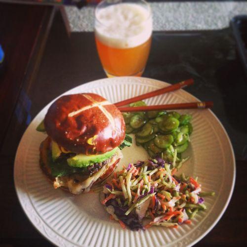 Good Eats Beer Burger Chopsticks Cucumber Dinner Food Foodphotography Foodporn