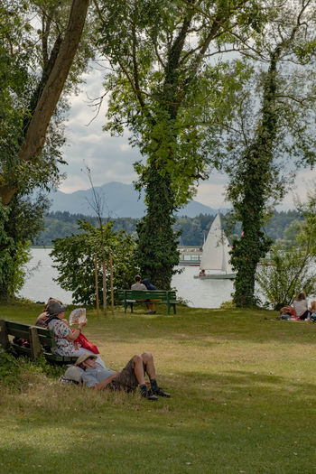 People relaxing on field by trees