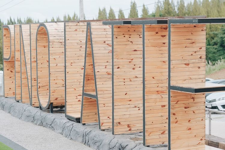 View of wooden fence against trees