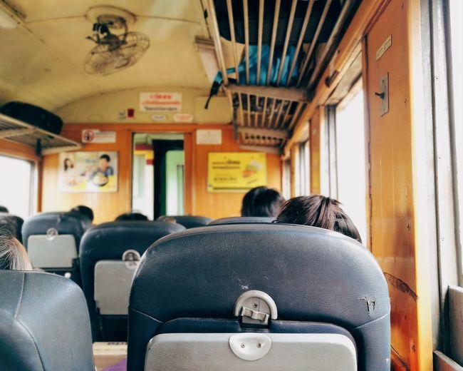 Passengers traveling in train