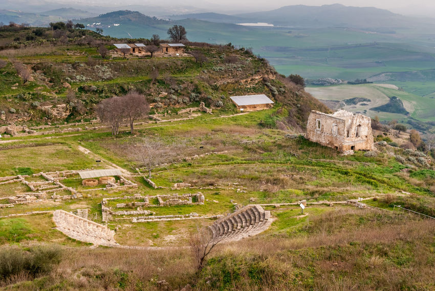 Panoramic view of the ancient greek city of Morgantina, in Sicily Agora Ancient Archaeology City Enna Greek Panoramic Ruins Rural Sicily Theater Archaeological Sites Architecture Grass Heritage History Italy Landmark Landscape Morgantina Old Ruin Outdoors Ruined Scenics Site