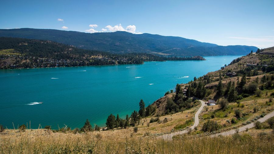 beautiful bc lake Kelowna British Columbia Lake Summer Blue Water Mountain Beauty In Nature Sky Scenics - Nature Plant Tree Nature Day High Angle View Beach Outdoors