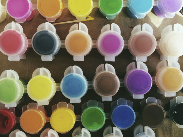 Full frame shot of colorful watercolor paints