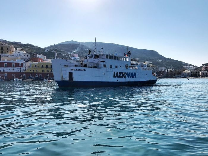 Ferry ship Island Ponza Water Mountain Sea Sky Nautical Vessel Transportation Mode Of Transportation Travel No People Nature Day Architecture Waterfront Beauty In Nature Mountain Range Travel Destinations Ship Outdoors Scenics - Nature Passenger Craft