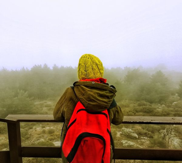 What a view, huh? Warm Clothing Tree Cold Temperature Winter Snow Fog Water Red Mountain Women Winter Coat Foggy Weather Countryside Snowflake Tobogganing Coat