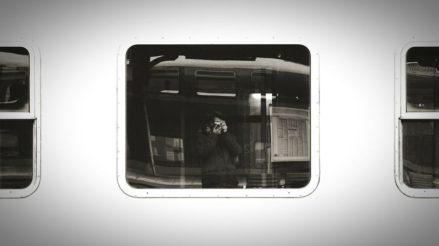 Public Transportation On The Go  Fujifilm Black & White Self Portrait Open Edit Train Station Mirror