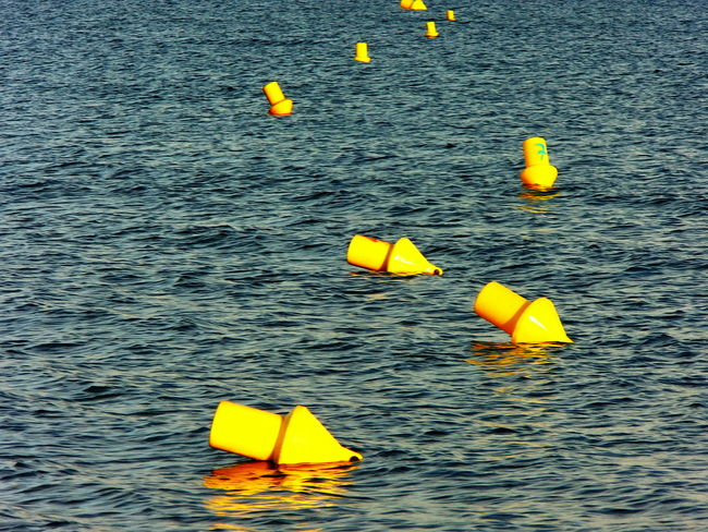 Buoy On The Water Chain Of Buoys Floating On Water Mediterranean Sea No People Outdoors Sea Water