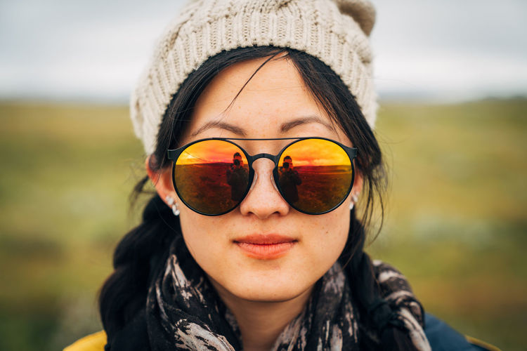 Beauty Close-up Fashionable Focus On Foreground Front View Headshot Leisure Activity Lifestyles Looking At Camera Person Portrait Portrait Of A Woman Smiling Sunglasses Travlr Young Adult Young Women