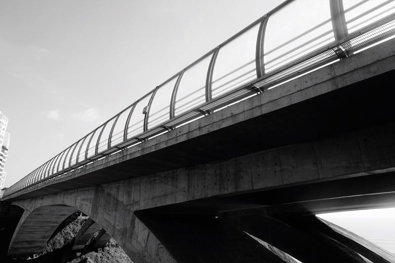 Bridge - Man Made Structure Connection Transportation Low Angle View Architecture Built Structure Elevated Road Engineering Bridge Rail Transportation Train - Vehicle Day Outdoors Sky No People EyeEmNewHere