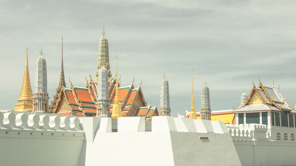 Architecture Bangkok City Building Exterior Built Structure Day Film Tone Grandpalace Nautical Vessel No People Outdoors Pastel Sky