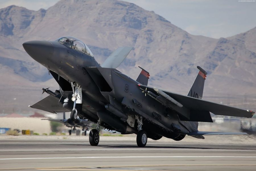 Aerospace Industry Air Force Air Force Air Vehicle Aircraft Airplane Aviation Day Desert F-15 F-15 Strike Eagle Fighter Fighter Plane Grey Landing Landing - Touching Down McDonnell Douglas Military Military Airplane Mountain No People Outdoors US Air Force USAF Weapon
