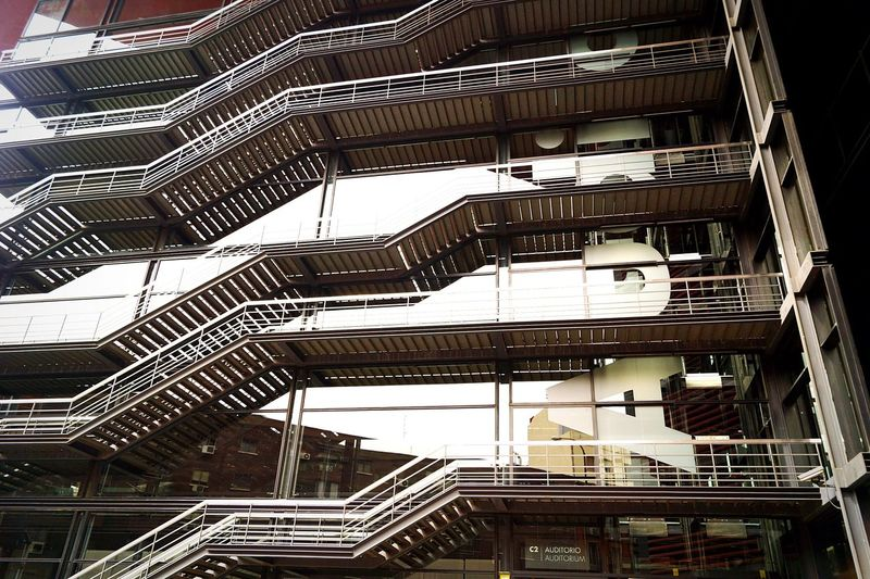 Steps And Staircases Built Structure Steps Architecture No People Outdoors Freshness Building Exterior Reflection City Fashion Fachadas De Madrid Fachada Architecture ArtWork Escaleras Stairs