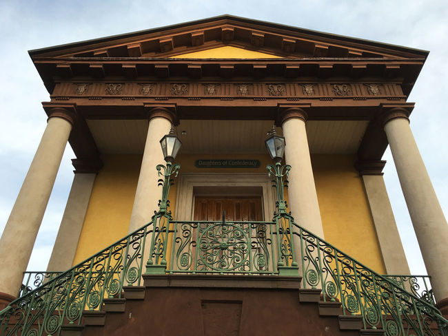 Architecture Building Exterior Built Structure Charleston South Carolina Column Daughters Of Confederacy Hall Famous Place Historic Low Angle View Railing Staircase Steps Steps And Staircases