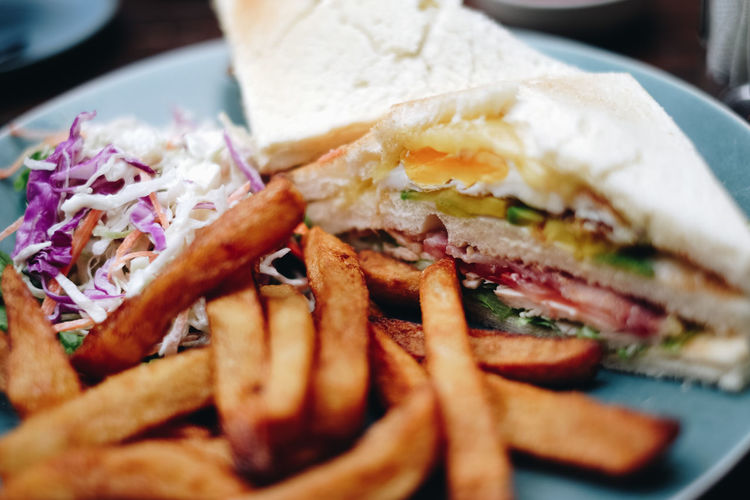 Close-up of sandwich with french fries and shredded cabbage