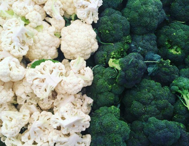 Full Frame Shot Of Cauliflower And Broccoli