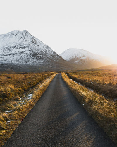 Glen Etive Mountain Peak Outdoors Day Land No People Non-urban Scene Beauty In Nature Transportation Nature Tranquility Tranquil Scene Clear Sky Environment Landscape The Way Forward Diminishing Perspective Mountain Scenics - Nature Direction Road Sky