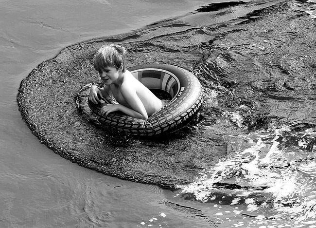 Photography Streetlife Black And White Swimming River Boy Children Tube Innertube Fun Monochrome Photography