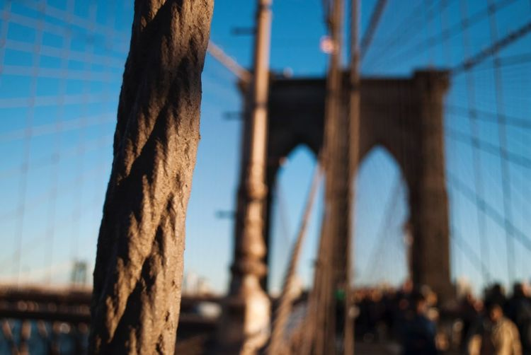 Brooklyn Bridge / New York Travel Destinations New York City Sky Focus On Foreground Built Structure No People Day Nature Architecture Sunlight Bridge - Man Made Structure Metal Blue Bridge Connection