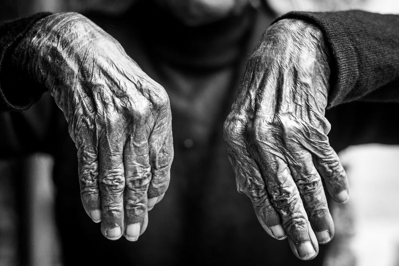 Close-up of wrinkled human hands