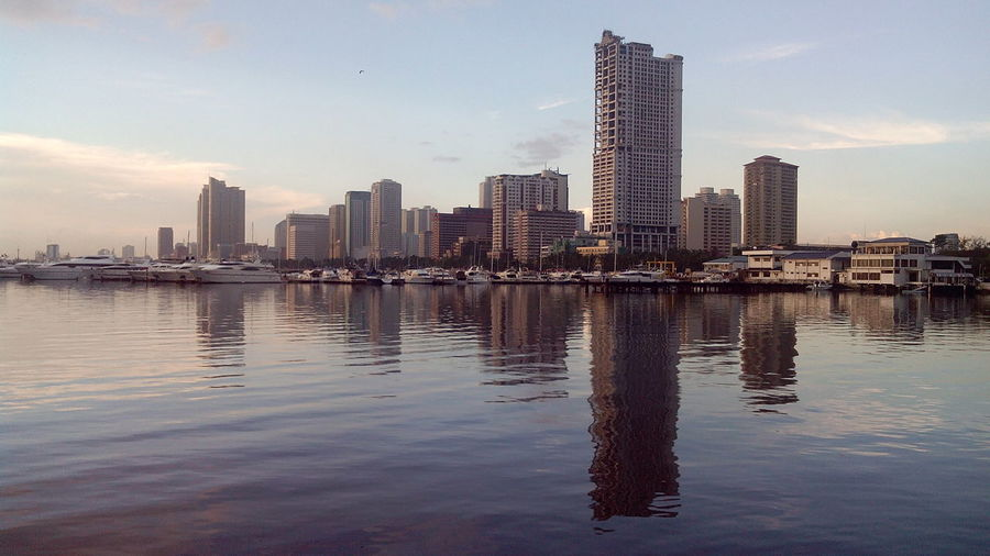Waterfront Skyline In Morning