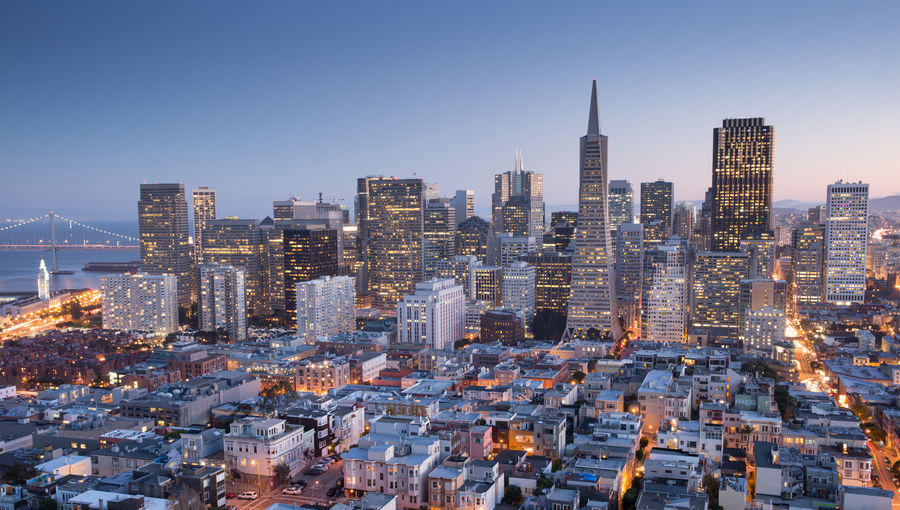 San francisco skyline at blue hour via coit tower