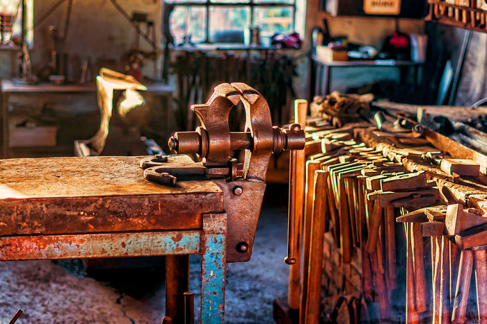 Iron Factory Focus On Foreground Forge  Industry Manufacturing Equipment Metal Metal Industry Rusty