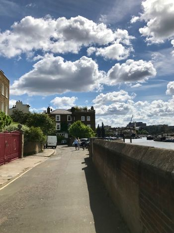 Architecture Building Exterior Built Structure City Cityscape Cloud - Sky Clouds Day Hammers Hammersmith House London No People Outdoors Residential Building River Thames Road Sky Sky And Clouds The Way Forward Town Travel Destinations Tree Water