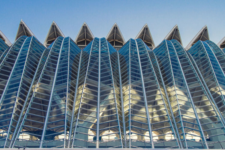 Architecture Calatrava Modern València Architecture Building Exterior Built Structure City Clear Sky Day In A Row Low Angle View Modern No People Outdoors Pattern Sky Skyscraper Spa