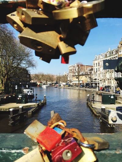 Showcase March Amsterdam Iphonephotography Iphone6s Leidseplein Bridge Canals Amsterdam Canal Padlock Your Amsterdam The Street Photographer - 2016 EyeEm Awards Focus Object Focus On Background