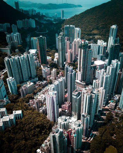 City Building Exterior Cityscape Skyscraper Architecture Built Structure Building High Angle View Residential District Tower Tall - High Mountain City Life Downtown District Crowded HongKong Hongkongphotography Drone  Dronephotography Aerial View Urban Urban Skyline Cityscape